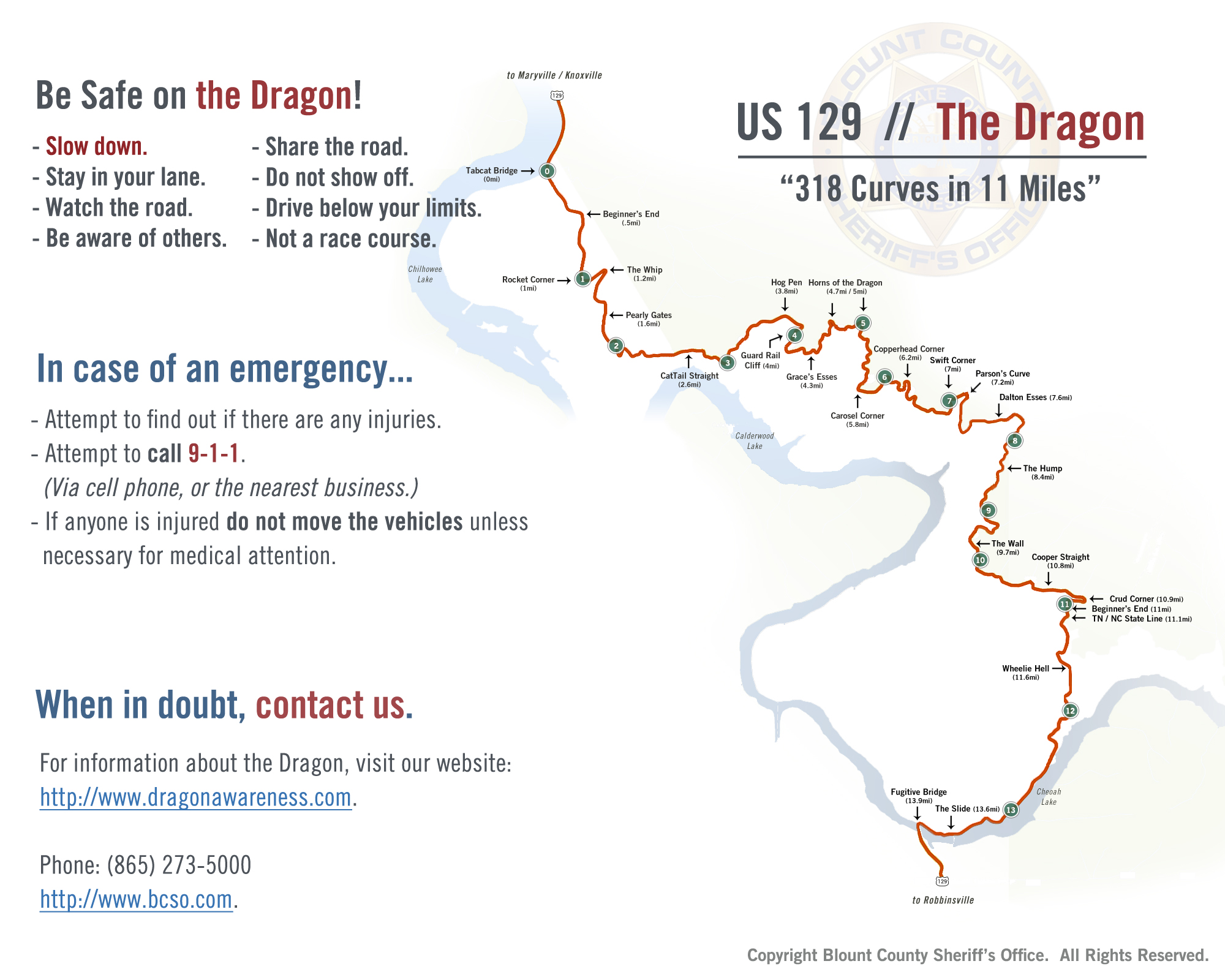 Dragon Awareness Blount County Sheriffs Office - Us 129 the dragon map